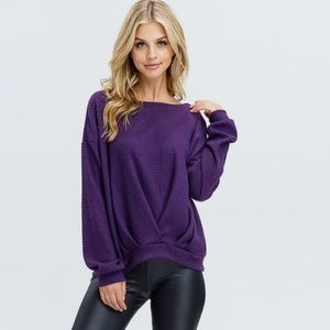 Sweaters - Thermal Knit Sweater in Violet